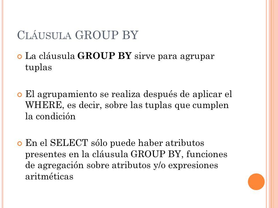 Cláusula GROUP BY La cláusula GROUP BY sirve para agrupar tuplas