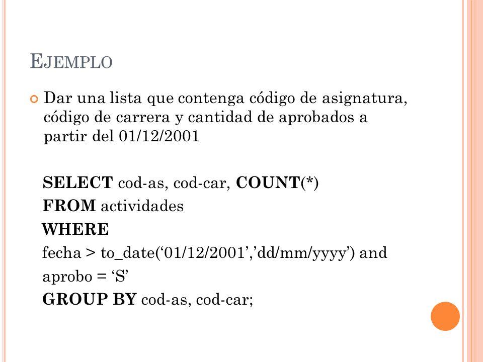 Ejemplo Dar una lista que contenga código de asignatura, código de carrera y cantidad de aprobados a partir del 01/12/2001.
