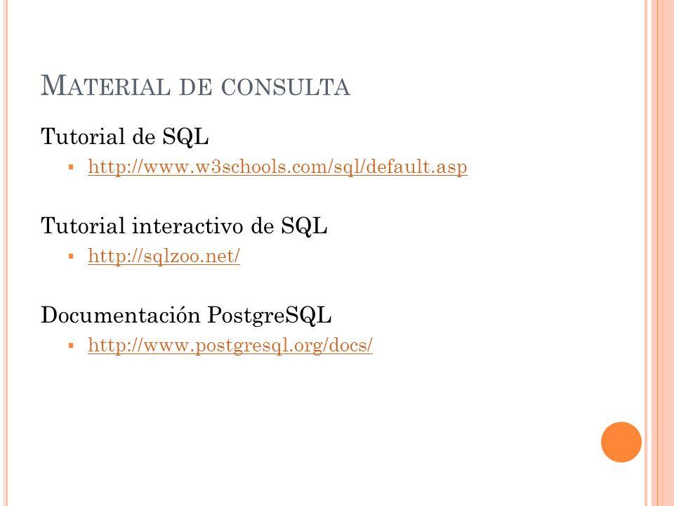 Material de consulta Tutorial de SQL Tutorial interactivo de SQL