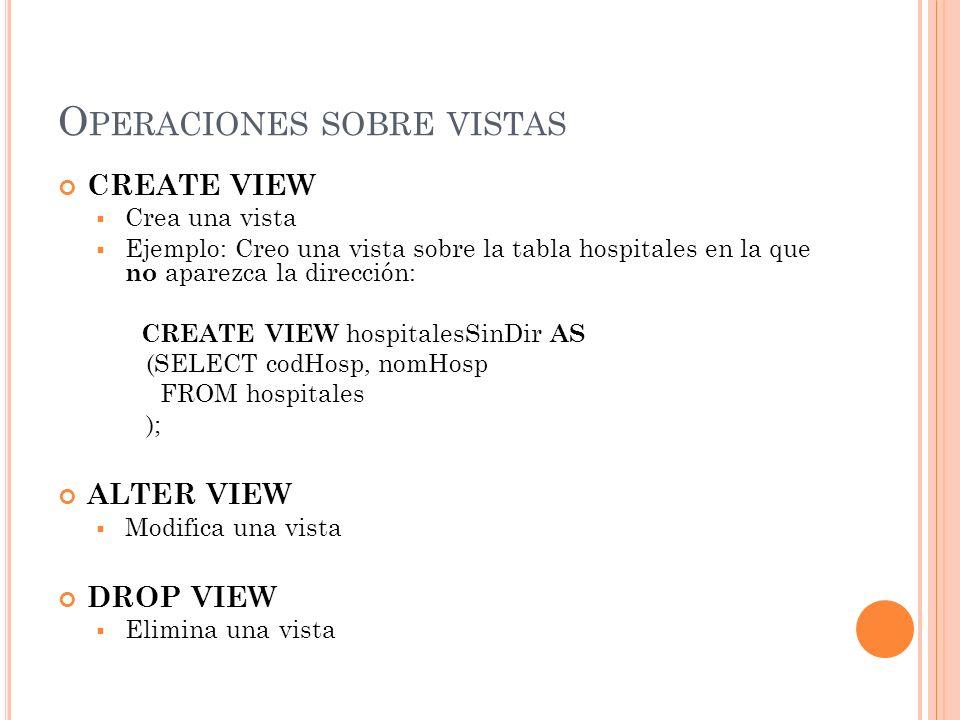 Operaciones sobre vistas