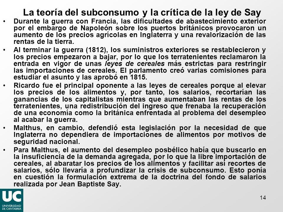 La teoría del subconsumo y la crítica de la ley de Say