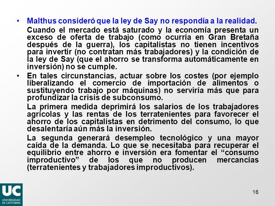 Malthus consideró que la ley de Say no respondía a la realidad.