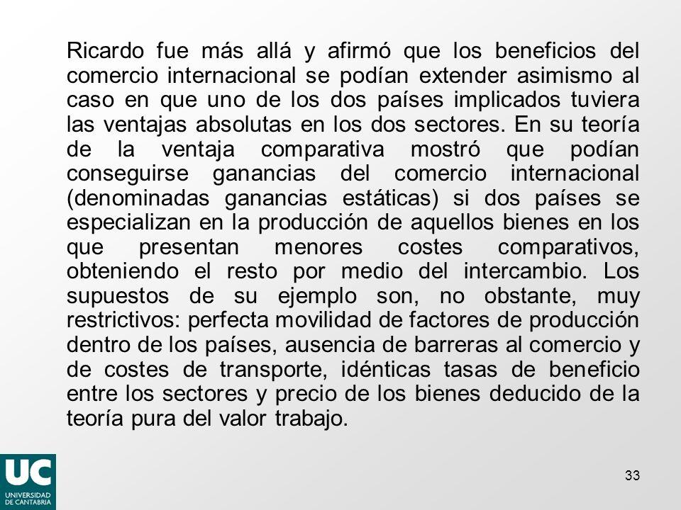 Ricardo fue más allá y afirmó que los beneficios del comercio internacional se podían extender asimismo al caso en que uno de los dos países implicados tuviera las ventajas absolutas en los dos sectores.