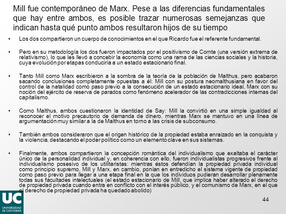 Mill fue contemporáneo de Marx