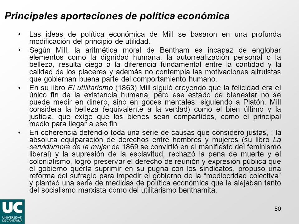 Principales aportaciones de política económica