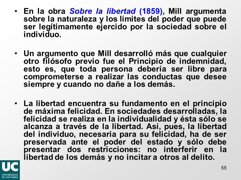 En la obra Sobre la libertad (1859), Mill argumenta sobre la naturaleza y los límites del poder que puede ser legítimamente ejercido por la sociedad sobre el individuo.
