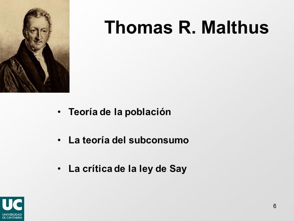 Thomas R. Malthus Teoría de la población La teoría del subconsumo