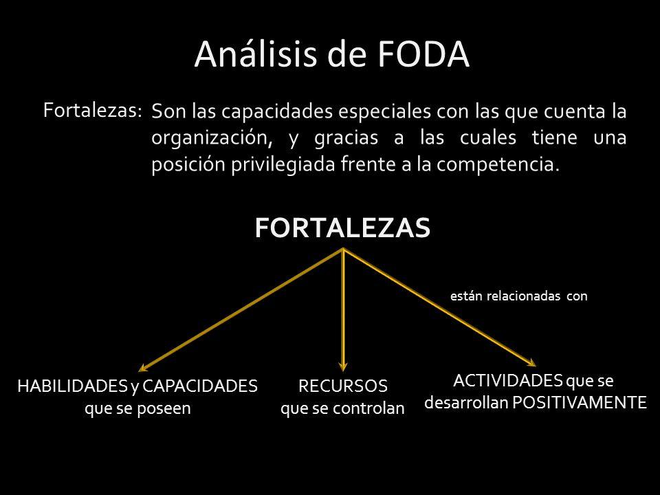 Análisis de FODA FORTALEZAS Fortalezas: