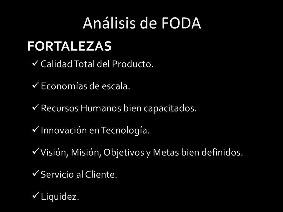 Análisis de FODA FORTALEZAS Calidad Total del Producto.