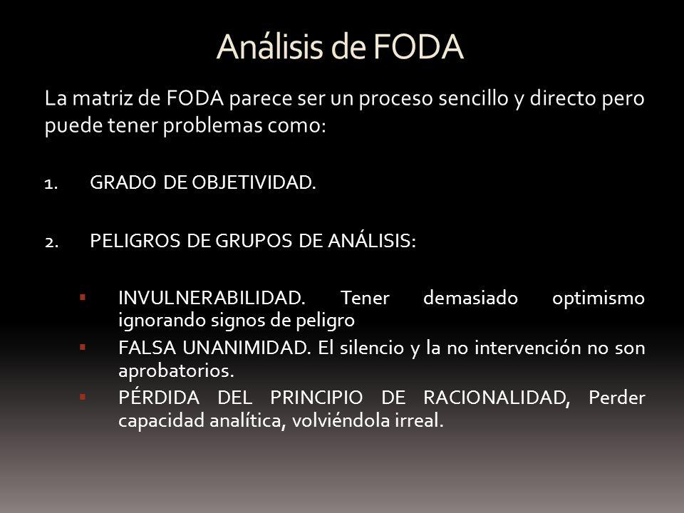 Análisis de FODA La matriz de FODA parece ser un proceso sencillo y directo pero puede tener problemas como: