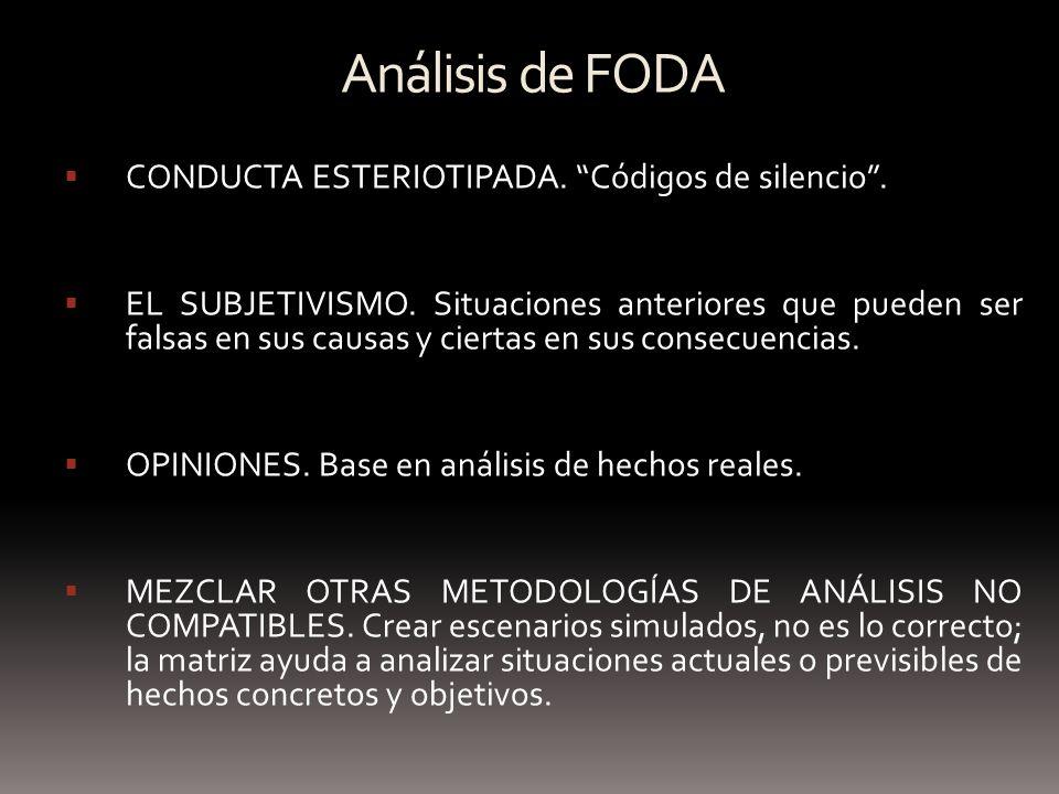 Análisis de FODA CONDUCTA ESTERIOTIPADA. Códigos de silencio .