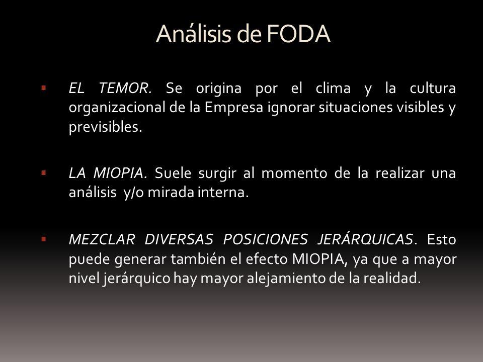 Análisis de FODA EL TEMOR. Se origina por el clima y la cultura organizacional de la Empresa ignorar situaciones visibles y previsibles.