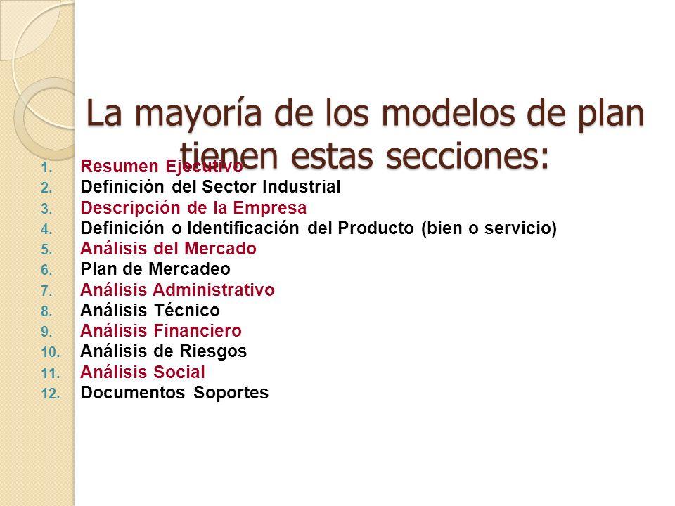 La mayoría de los modelos de plan tienen estas secciones:
