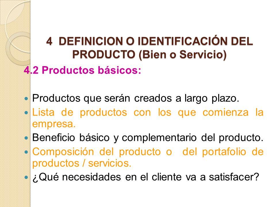 4 DEFINICION O IDENTIFICACIÓN DEL PRODUCTO (Bien o Servicio)