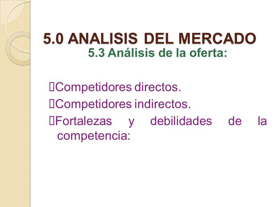 5.0 ANALISIS DEL MERCADO 5.3 Análisis de la oferta: ØCompetidores directos.