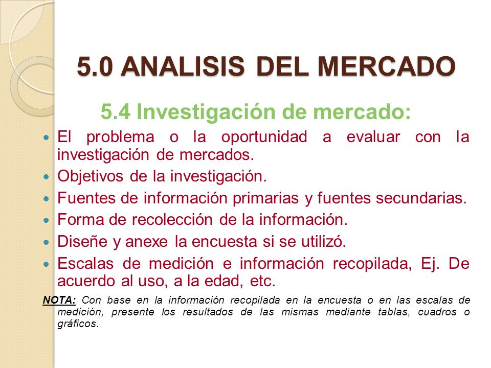 5.4 Investigación de mercado: