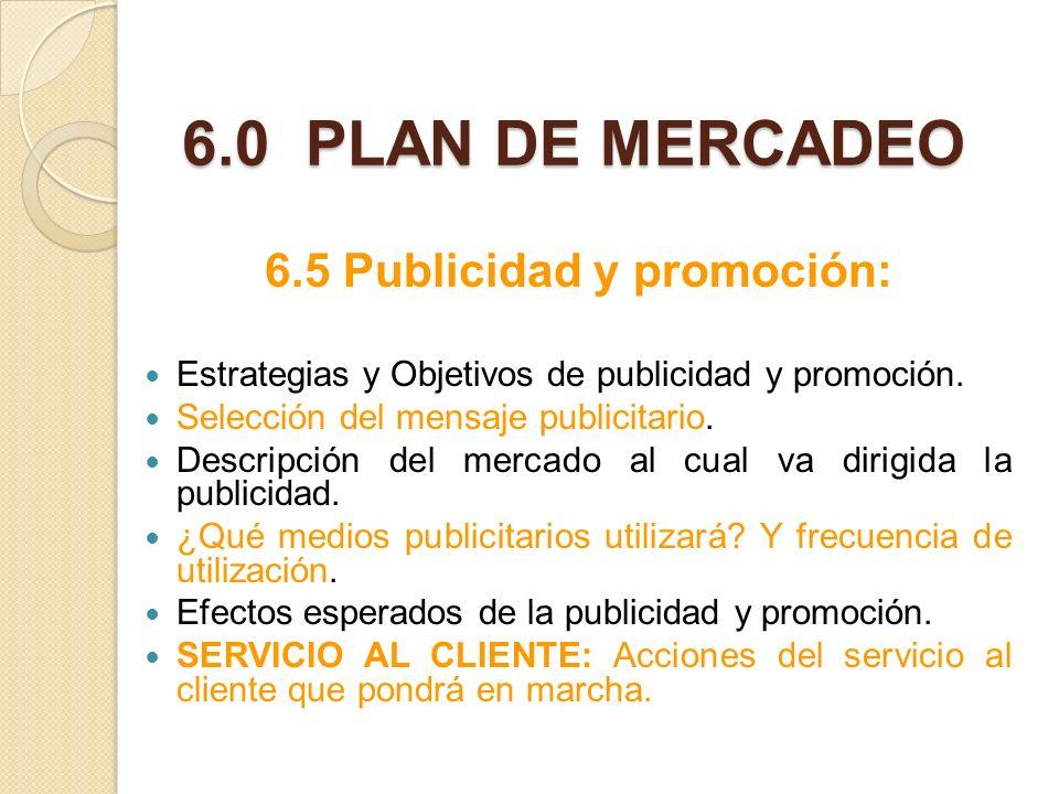 6.5 Publicidad y promoción: