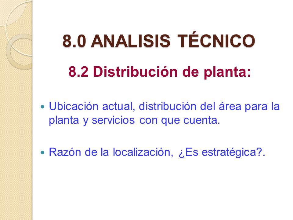 8.2 Distribución de planta: