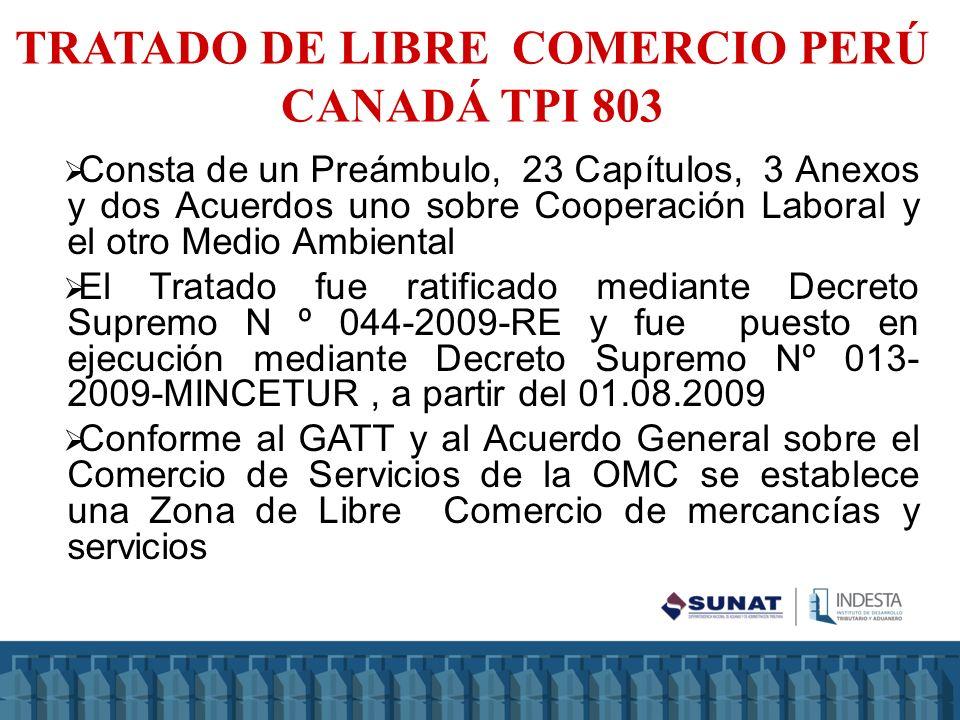 TRATADO DE LIBRE COMERCIO PERÚ CANADÁ TPI 803