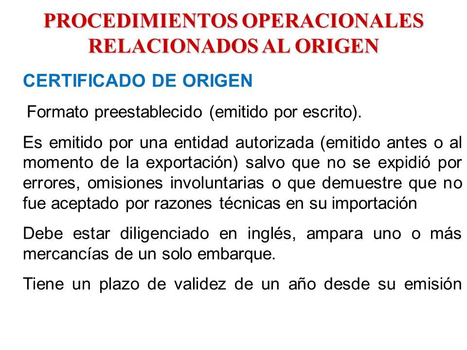 PROCEDIMIENTOS OPERACIONALES RELACIONADOS AL ORIGEN