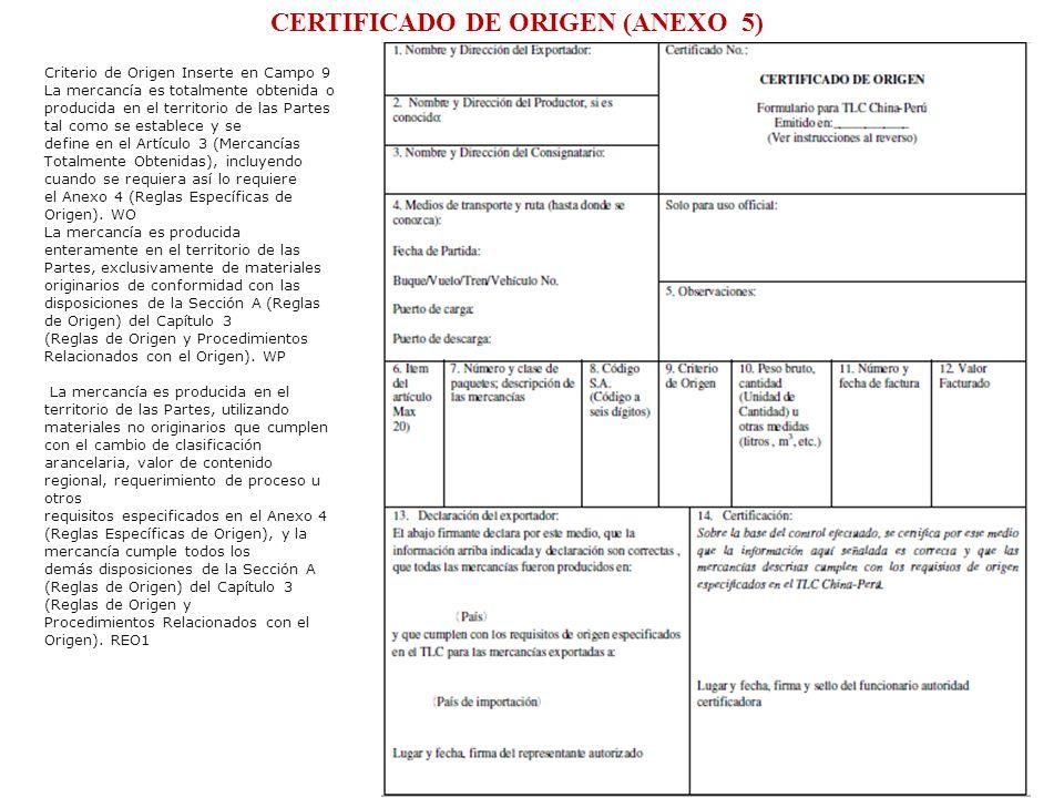 CERTIFICADO DE ORIGEN (ANEXO 5)