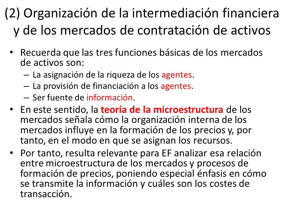 (2) Organización de la intermediación financiera y de los mercados de contratación de activos