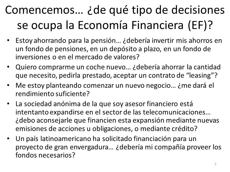 Comencemos… ¿de qué tipo de decisiones se ocupa la Economía Financiera (EF)