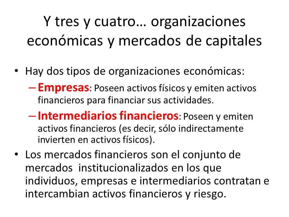 Y tres y cuatro… organizaciones económicas y mercados de capitales