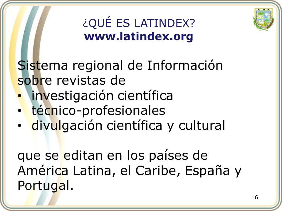 Sistema regional de Información sobre revistas de