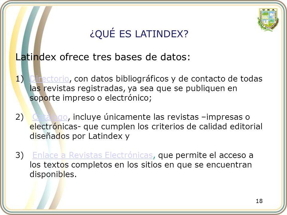 Latindex ofrece tres bases de datos: