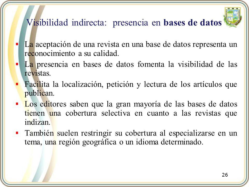 Visibilidad indirecta: presencia en bases de datos