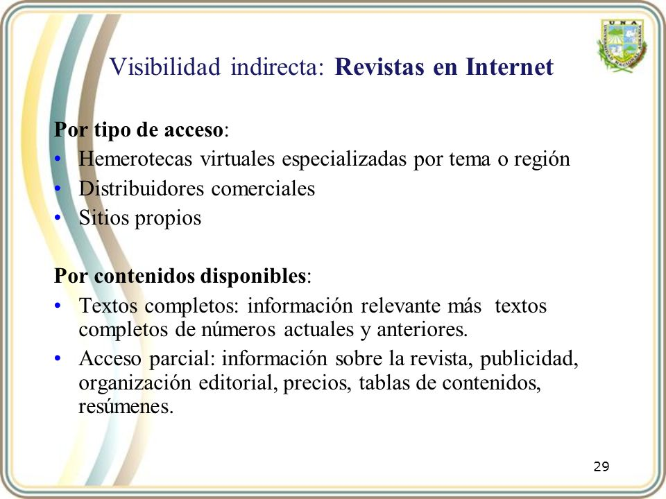 Visibilidad indirecta: Revistas en Internet