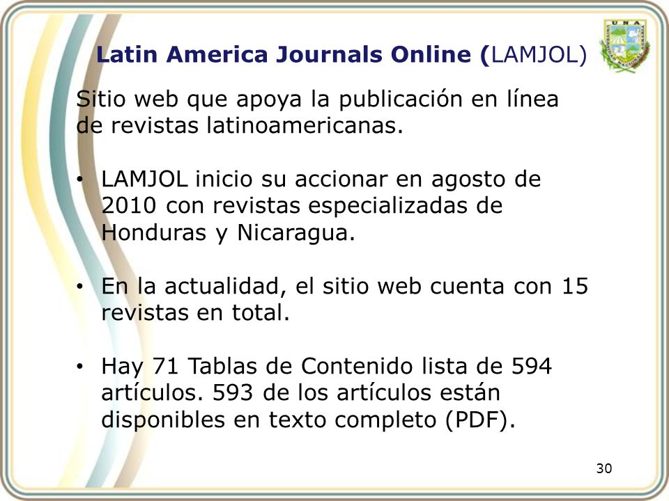 Latin America Journals Online (LAMJOL)