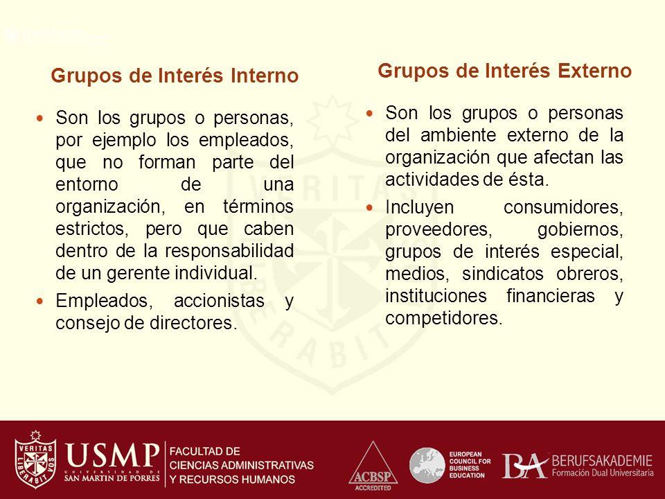 Grupos de Interés Externo Grupos de Interés Interno