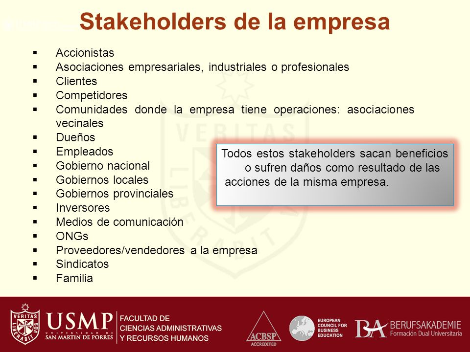 Stakeholders de la empresa