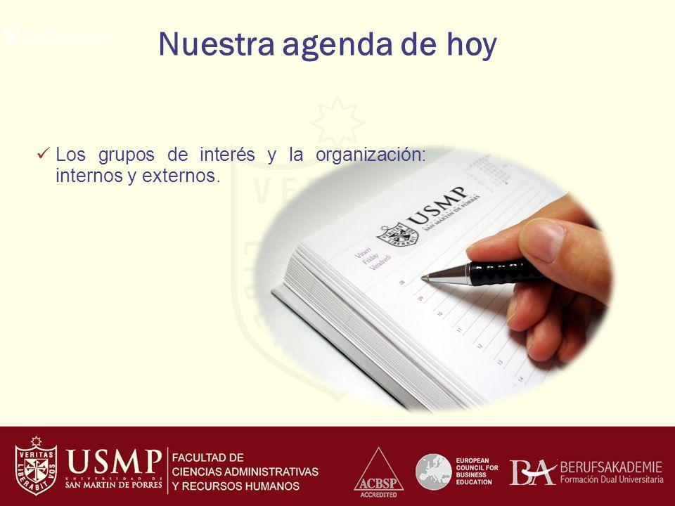 Nuestra agenda de hoy Los grupos de interés y la organización: internos y externos.
