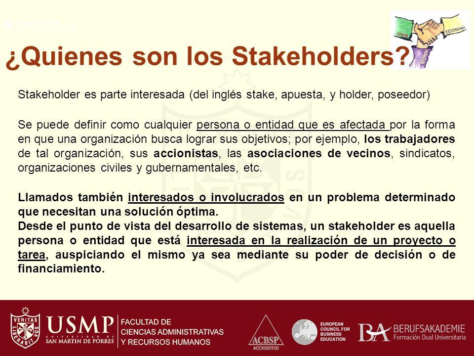 ¿Quienes son los Stakeholders
