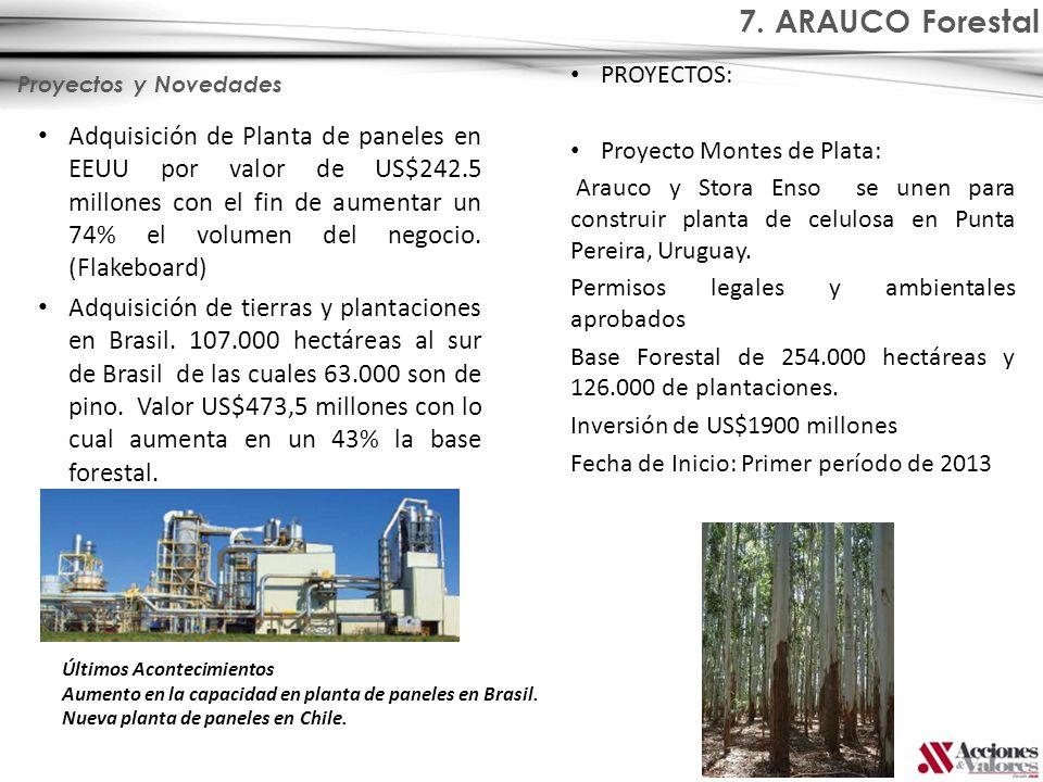 7. ARAUCO Forestal PROYECTOS: Proyecto Montes de Plata: Arauco y Stora Enso se unen para construir planta de celulosa en Punta Pereira, Uruguay.