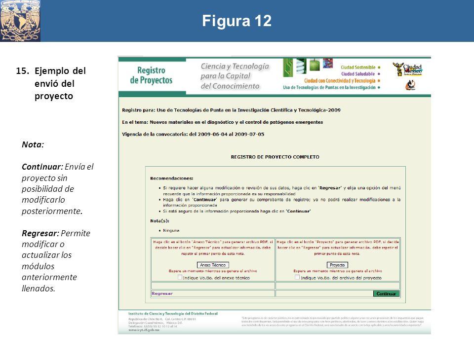 Figura 12 Ejemplo del envió del proyecto Nota: