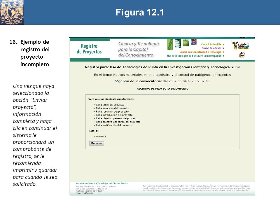 Figura 12.1 Ejemplo de registro del proyecto incompleto