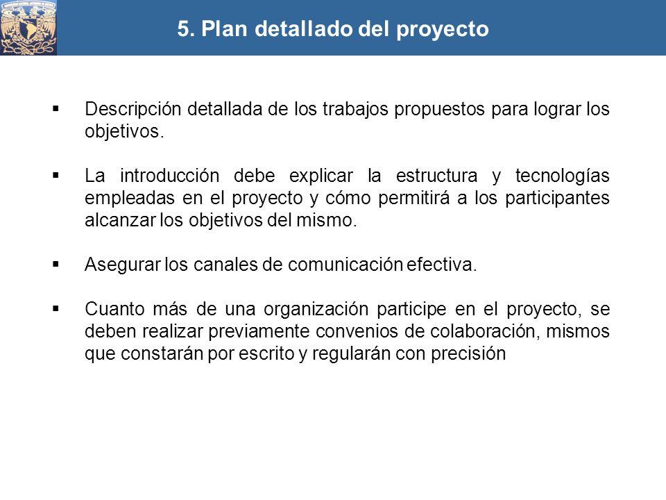 5. Plan detallado del proyecto