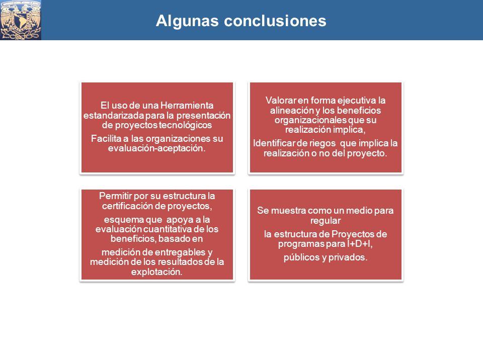 Algunas conclusiones El uso de una Herramienta estandarizada para la presentación de proyectos tecnológicos.