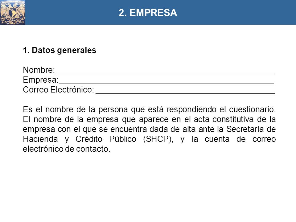 2. EMPRESA 1. Datos generales