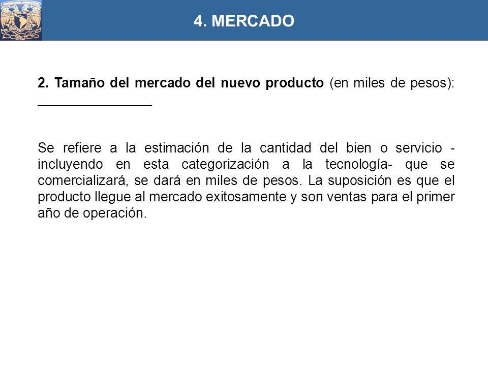 4. MERCADO 2. Tamaño del mercado del nuevo producto (en miles de pesos): _______________.