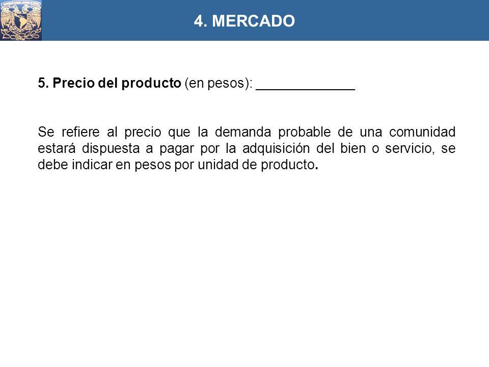 4. MERCADO 5. Precio del producto (en pesos): _____________