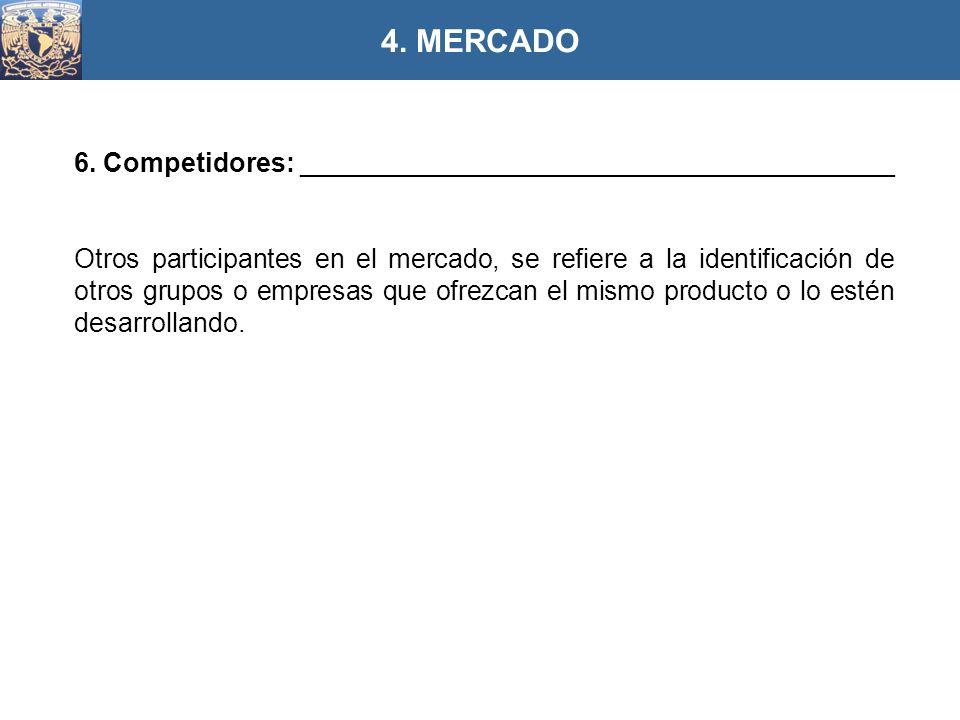 4. MERCADO 6. Competidores: ________________________________________