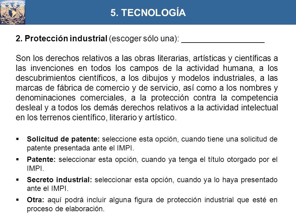 5. TECNOLOGÍA 2. Protección industrial (escoger sólo una): __________________.
