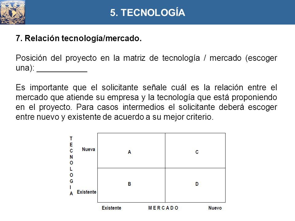 5. TECNOLOGÍA 7. Relación tecnología/mercado.