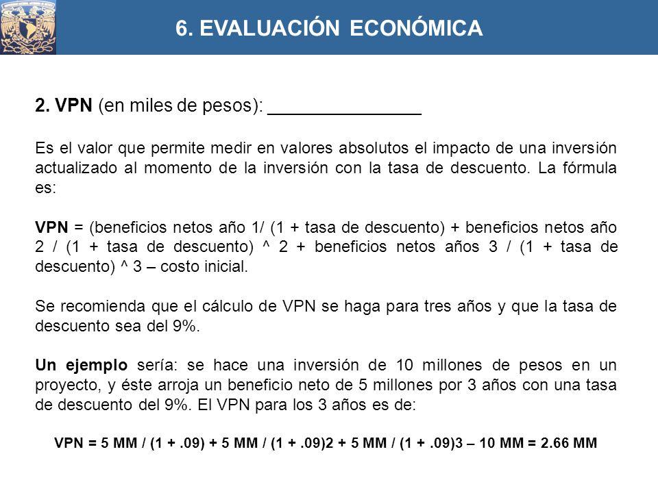 6. EVALUACIÓN ECONÓMICA 2. VPN (en miles de pesos): _______________