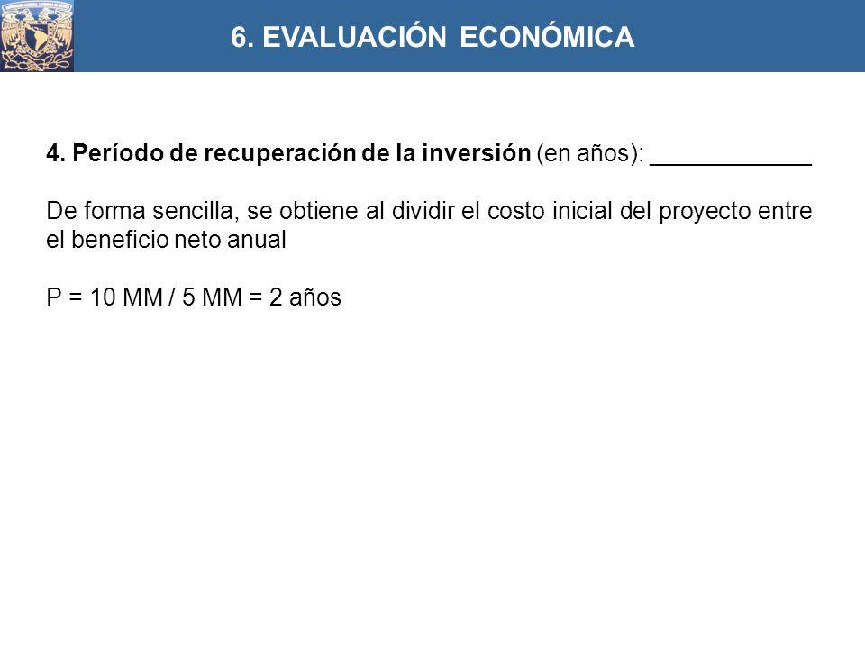 6. EVALUACIÓN ECONÓMICA 4. Período de recuperación de la inversión (en años): ____________.